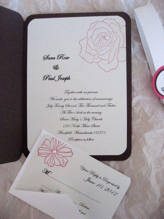 handmade rose bi fold wedding invitation with reply card