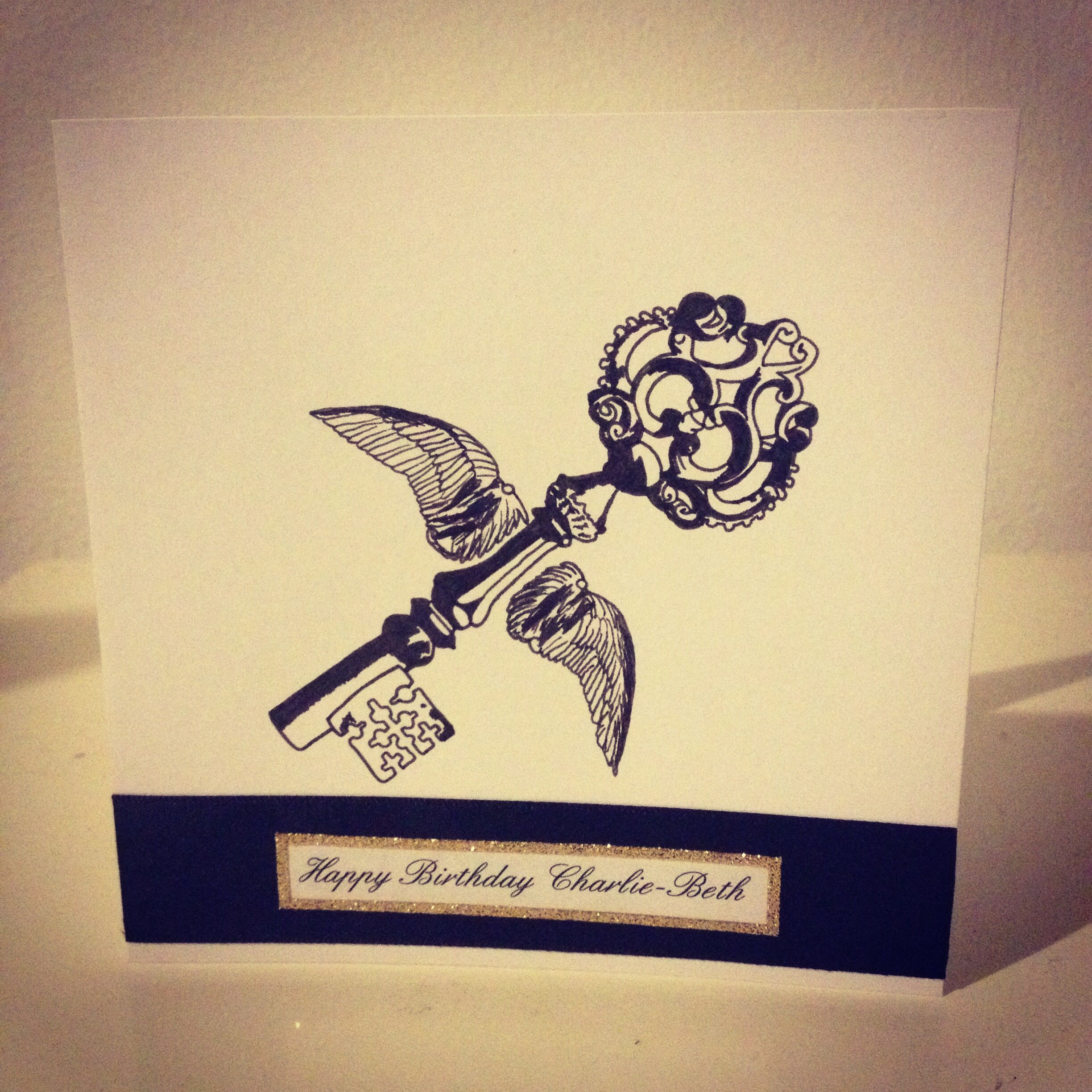 Harry Potter Winged Key Birthday Card Love The Ink Drawing Effect