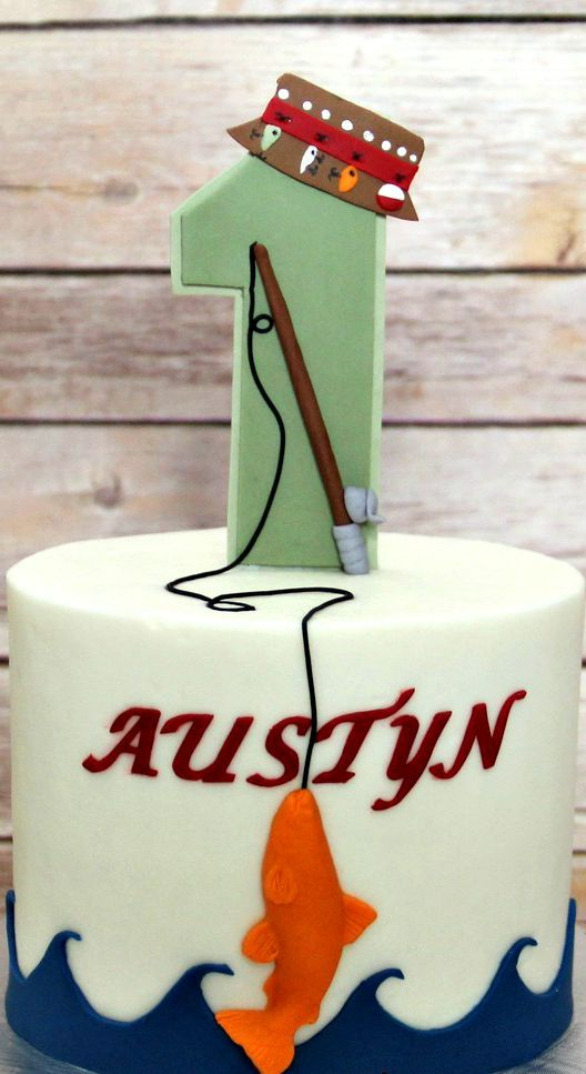 Fabulous Austyns 1St Fishing Themed Birthday Party Fishing Theme Cake Personalised Birthday Cards Cominlily Jamesorg