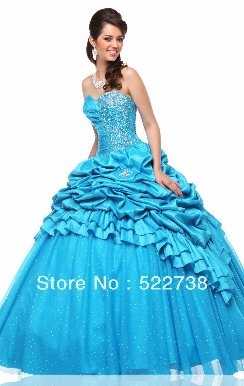 Vestidos de 15 azules largos