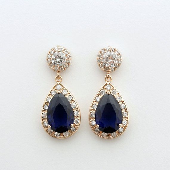 Rose Gold Wedding Earrings Blue Bridal Earrings Something Blue