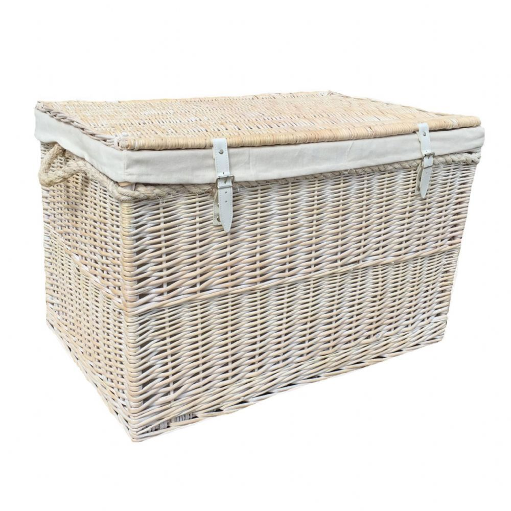 New England Giant White Wicker Storage Chest Living Room