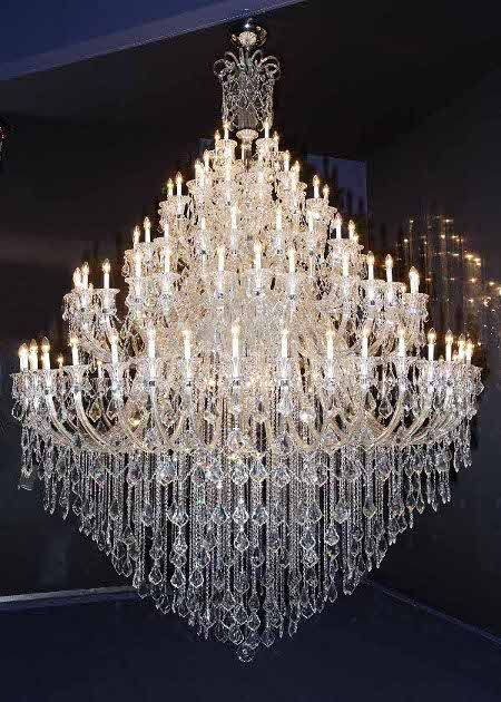 Genuine Crystal Chandelier Traditional LED Waterfall In Gold 300mm LED GLOBES