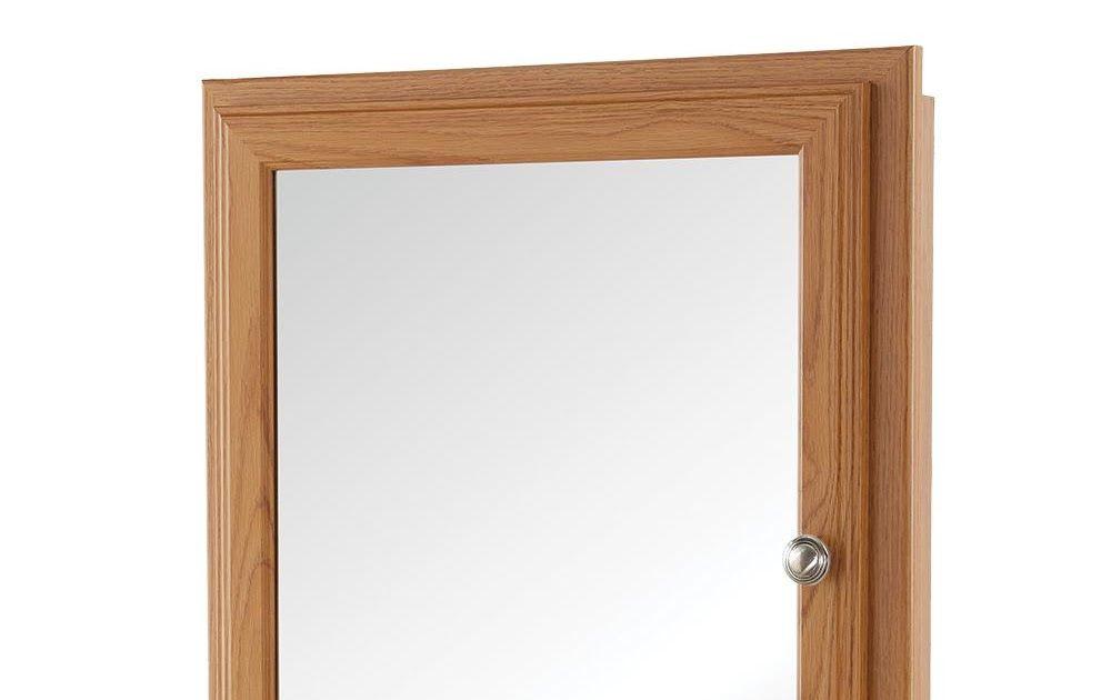 Bathroom Medicine Cabinet Fog Free Mirror Oak Wood Framed Recessed