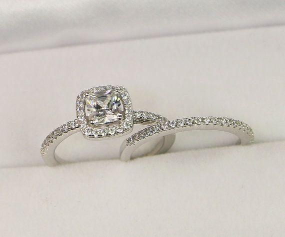 Halo Verlobungsring, Hochzeit Ring Set, Sterling Silber Ehering, Kissen geschnitten Ring, Prinzessin geschnitten Ring, kleine Ring