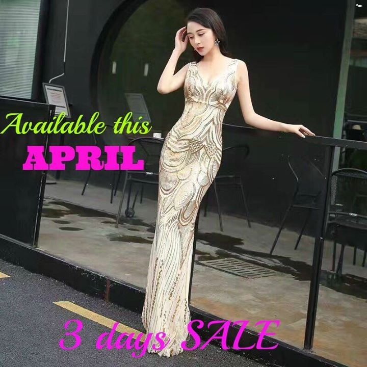 Gold glittery long gown :) is available this summer Sale (APRIL ...