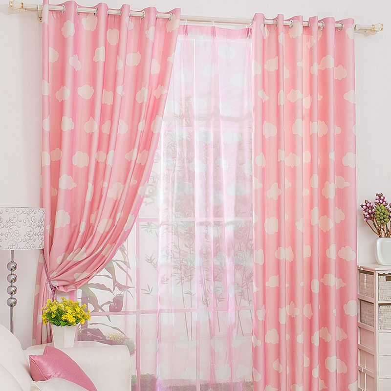 Casual Clouds Patterned Good Girls Pink Curtains