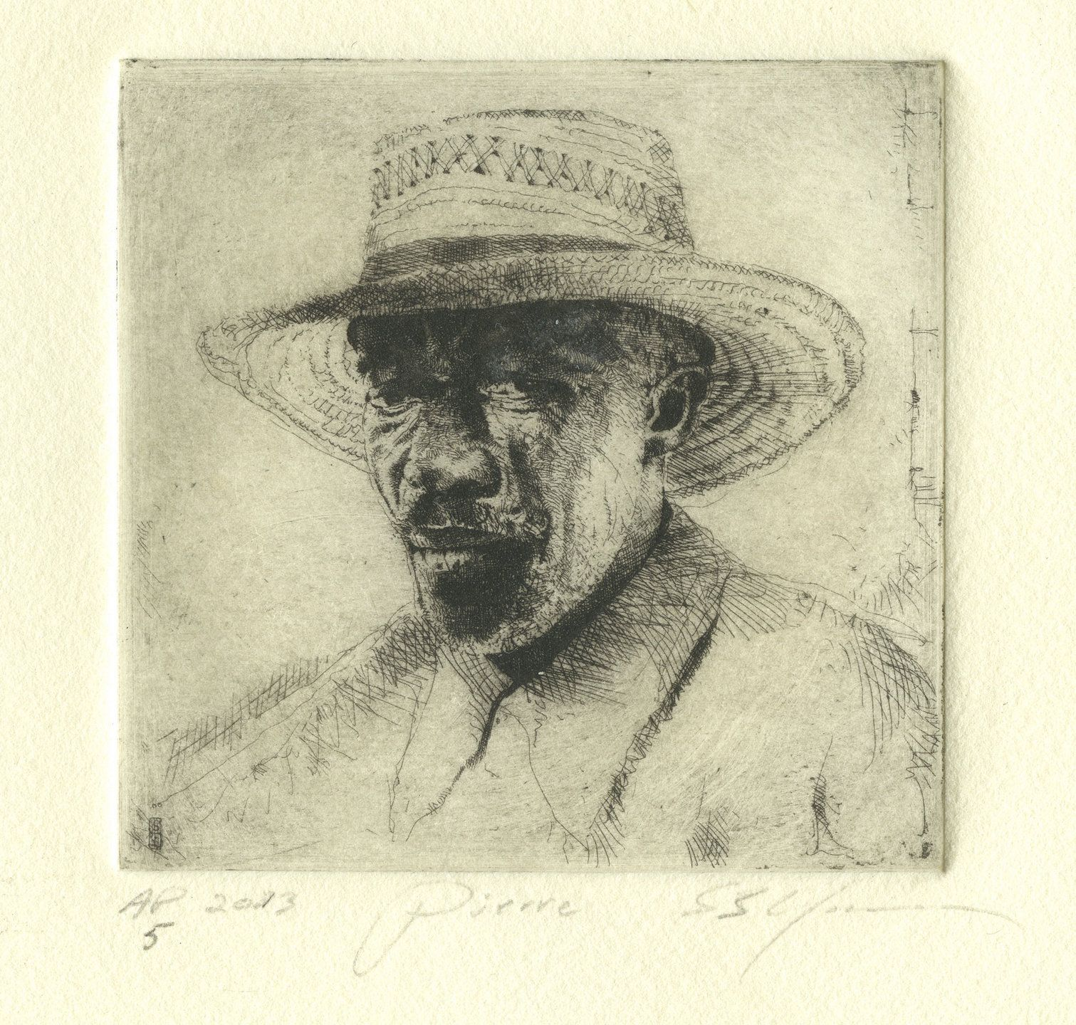 """Stephen Scott Young """"Pierre"""", Copper plate etching   Size 3 x 3 inches"""