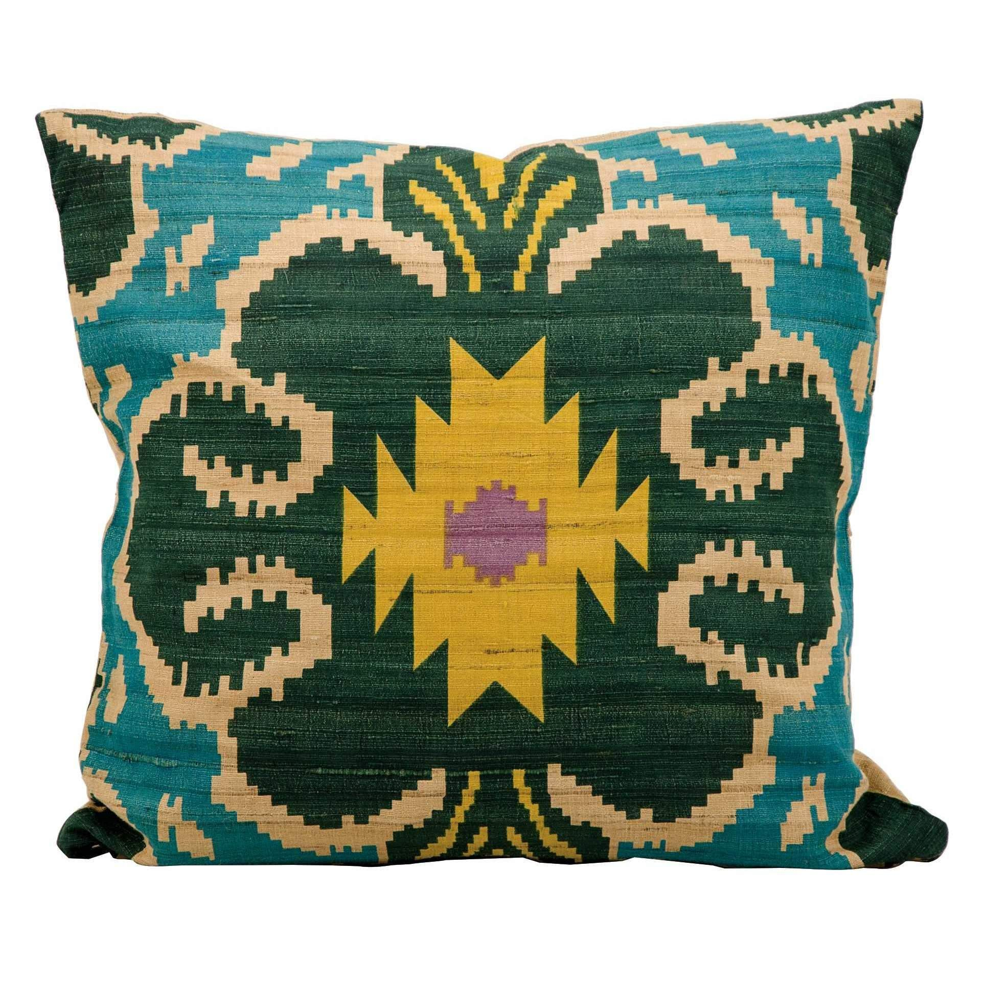 Kathy Ireland Clover Ikat Turquoise Throw Pillow