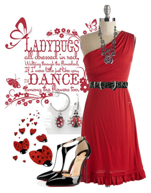 """Lovely Ladybug"" by jennifernoriega ❤ liked on Polyvore featuring FAIR+true, Oscar de la Renta and Christian Louboutin"