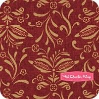 Vintage Farmhouse Red Flower Scroll Yardage <br/>SKU