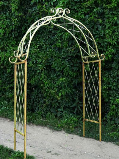 Metal Garden Arbors | Rustic Garden »Wrought Iron X Arch - Trellis ...