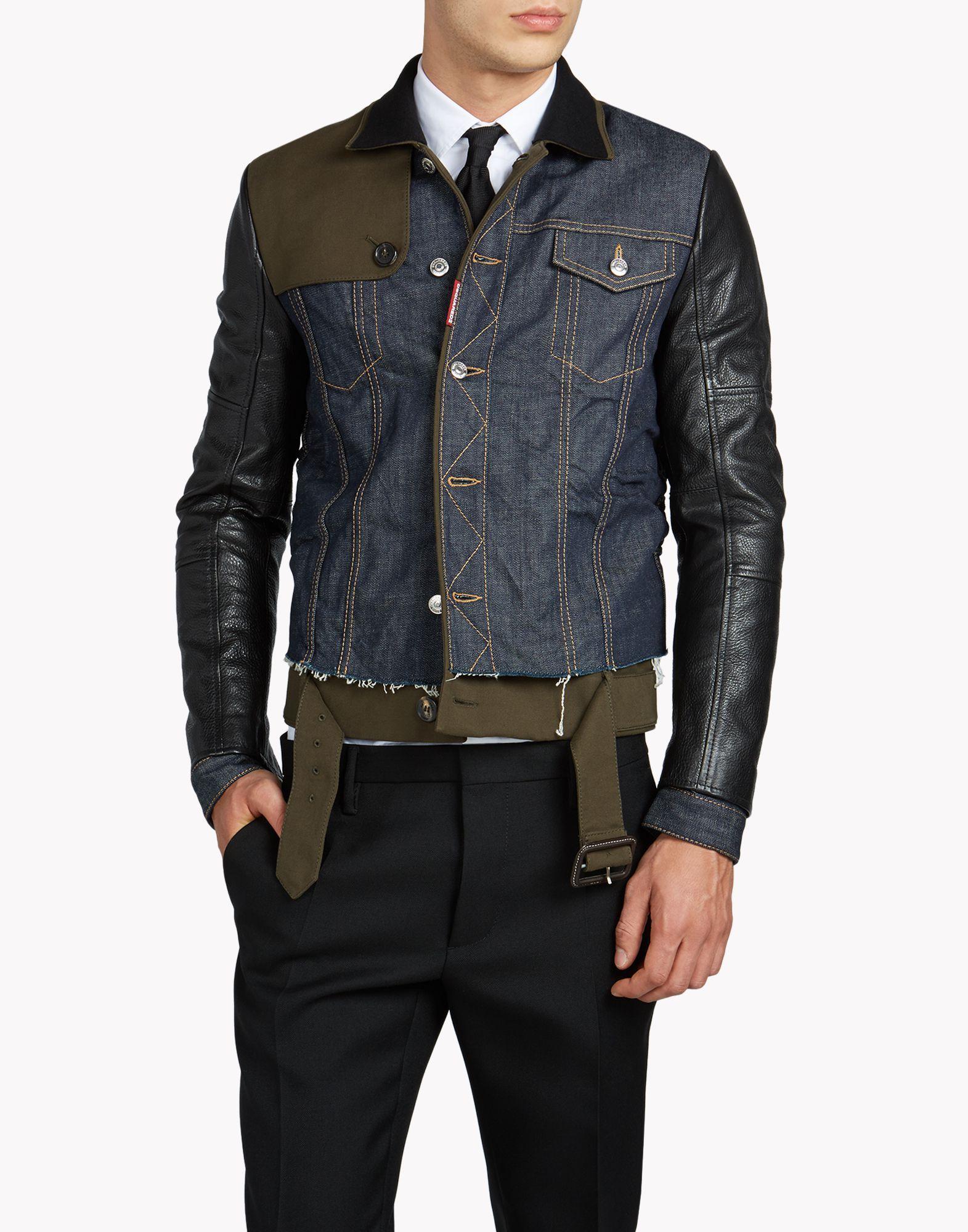 c200f6b09d0 Trench Biker Jean Jacket - Jacket Men - Dsquared Official Online Store