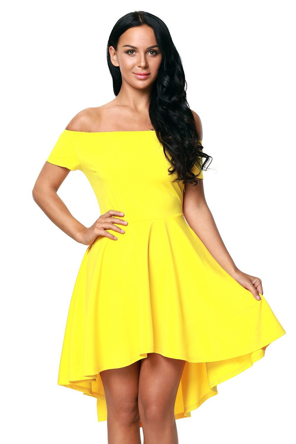 d2c3a519a5 Yellow Shoulder Off All The Rage Skater Fit and Flare Dress