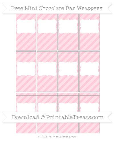 Pink Diagonal Striped Diy Mini Chocolate Bar Wrappers Candy Bar Wrapper Template Candy Bar Wrapper Template Free Diy Candy Bar Wrappers Chocolate bar wrappers template