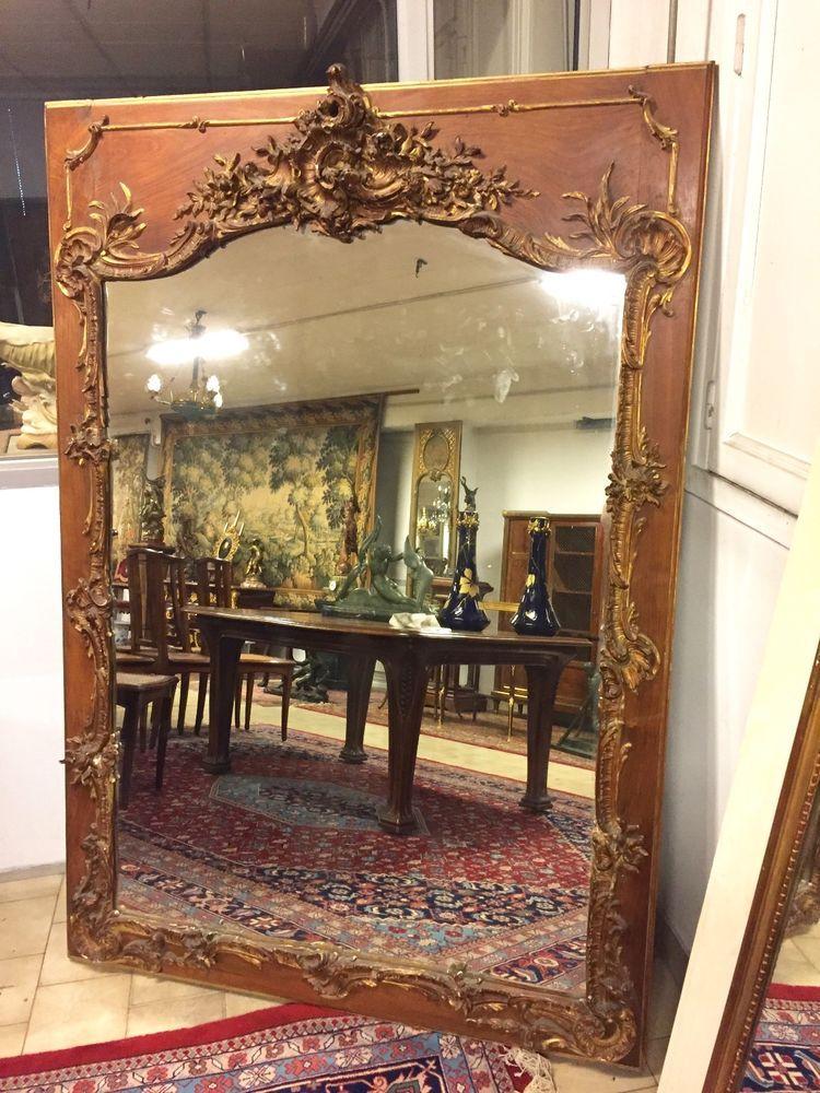 Grand Miroir Doré Style Louis XV Rocaille 1900