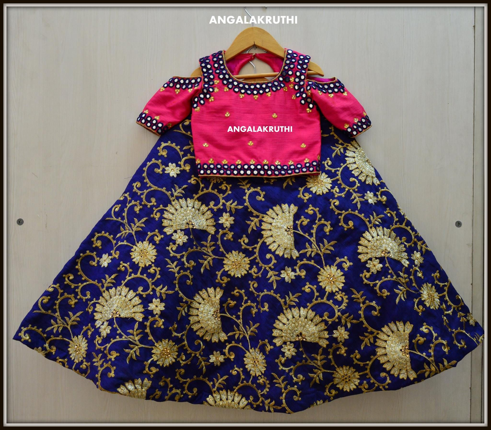 04e8f054fe0886 Beautiful blue color lehenga and pink color blouse with cold shoulder is  best suits for your little ones. 26 May 2017