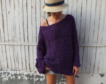 Red Oversized Sweater Cozy wool sweater Handknit sweater Loose ...
