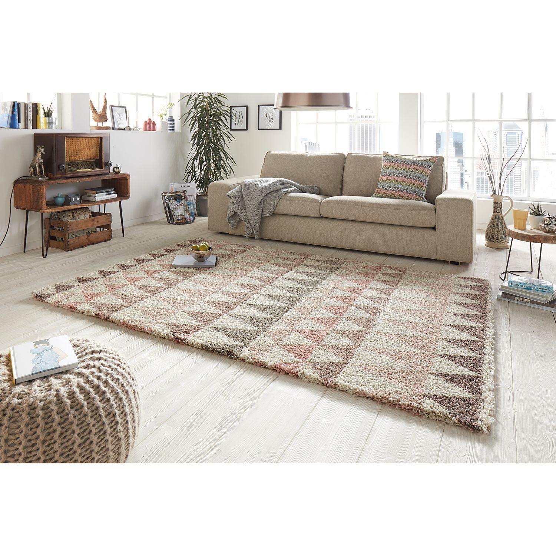 Hochflorteppich Triangle Braune couch wohnzimmer ideen