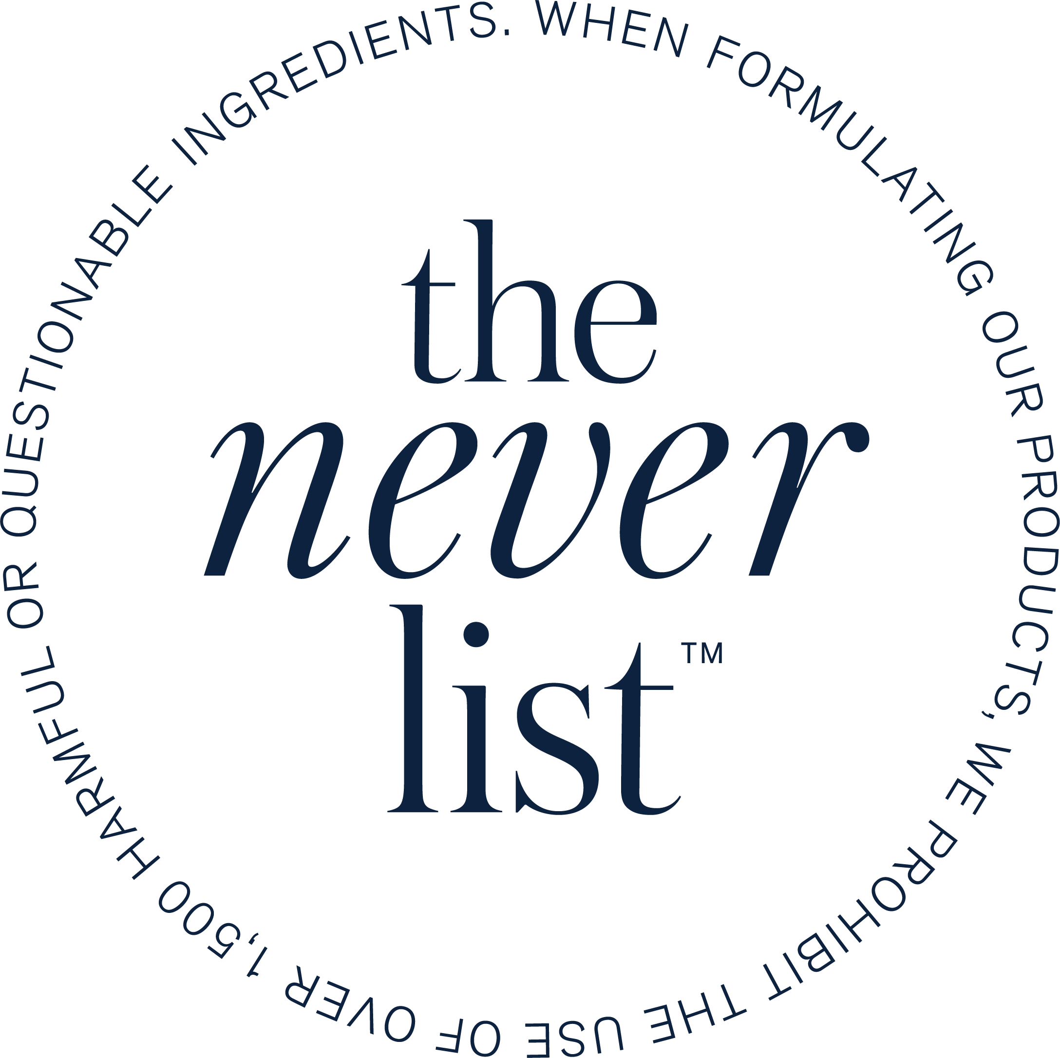 The Never List Beautycounter's list of 1500