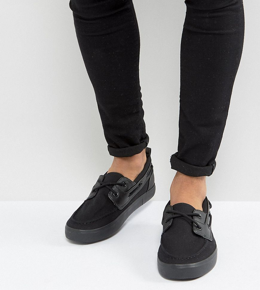 ASOS Wide Fit Boat Shoes In Black