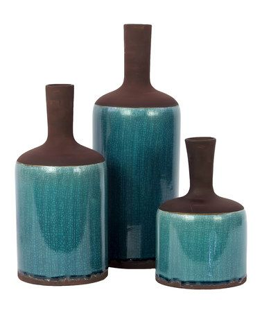 Take A Look At This Turquoise Amp Brown Vase Set By Urban