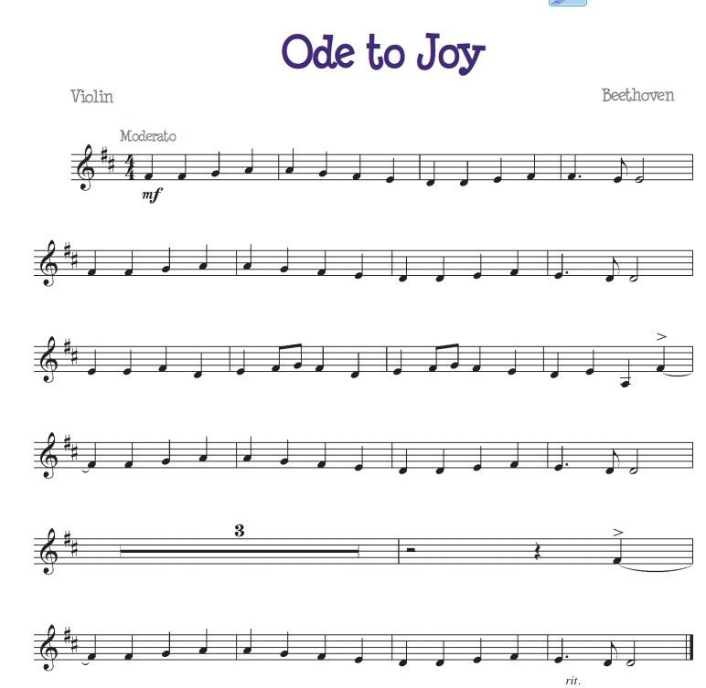 Ode To Joy For The Beginner Violinist With Images Sheet Music