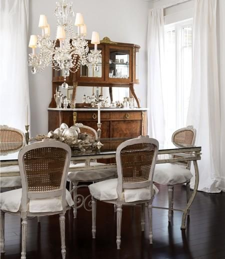 Dining Rooms   Gray Walls Gray Cane Back French Dining Chairs Gray  Glass Top Dining Table Espresso Wood Floors White Silk Drapes Antique  Buffet Hutch ...