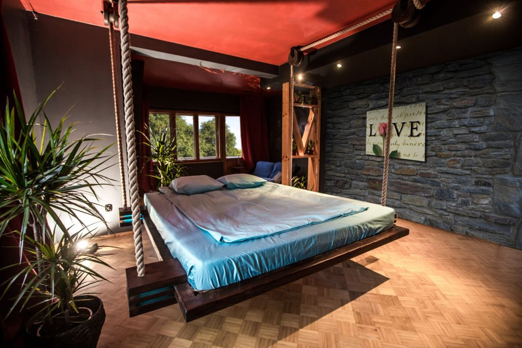 Bedroom Faboulus Hanging From Ceiling Bed Using Brown Wooden Bed