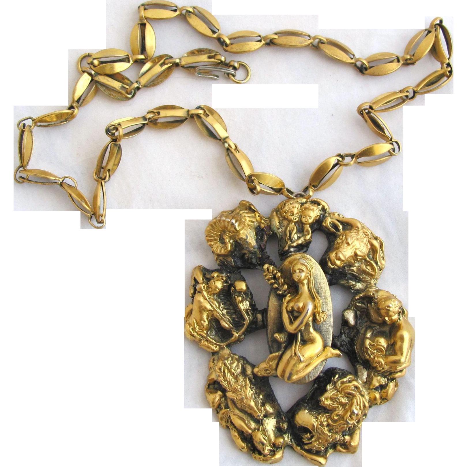 Vintage Tortolani Huge Zodiac Pendant Necklace Favorite Vintage