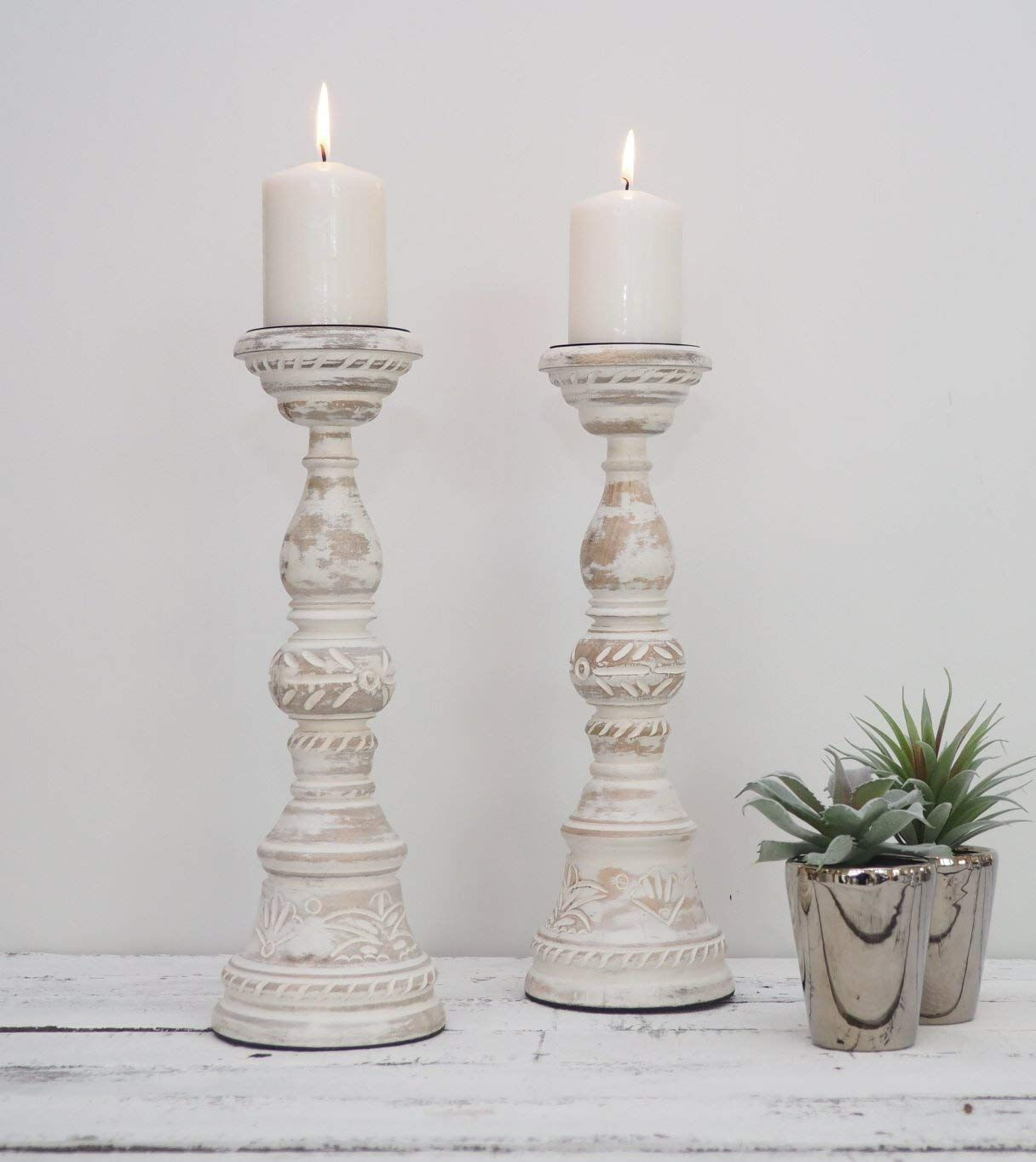 White Distressed Wooden Candlestick Candle Holder Large