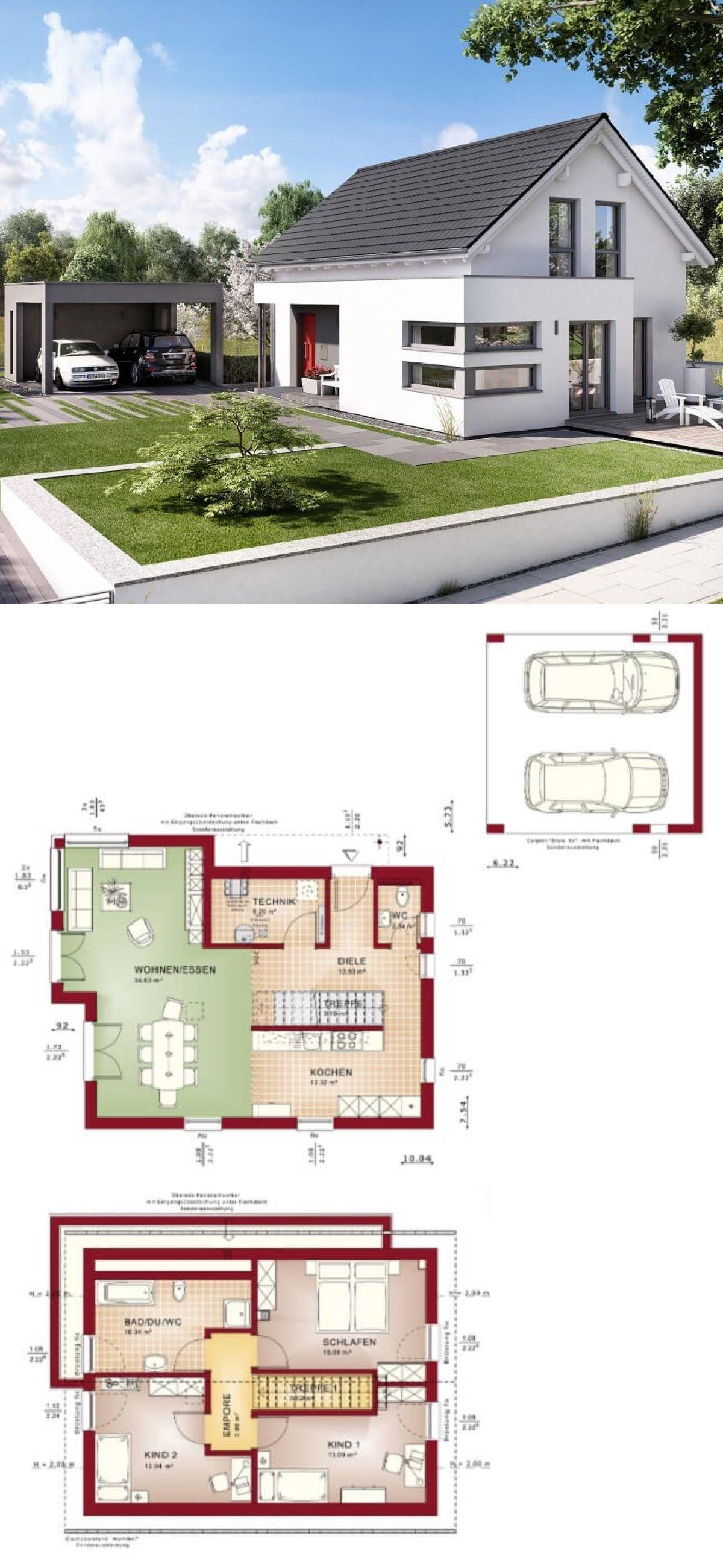 Einfamilienhaus Modern Grundriss Mit Satteldach Architektur Carport Haus Bauen Fertighaus Edition 4 V4 Bien Zenker Ha Haus Bauen Wohnarchitektur Haus Plane