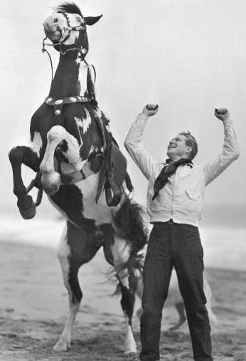 Nelson With His Horse Jeanette Macdonald And Nelson Eddy