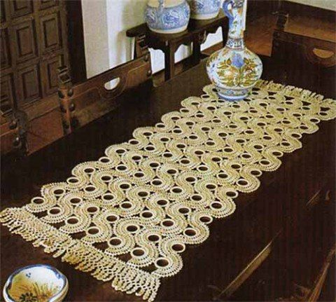 Mis Pasatiempos Amo el Crochet Camino de mesa tejido con argollas