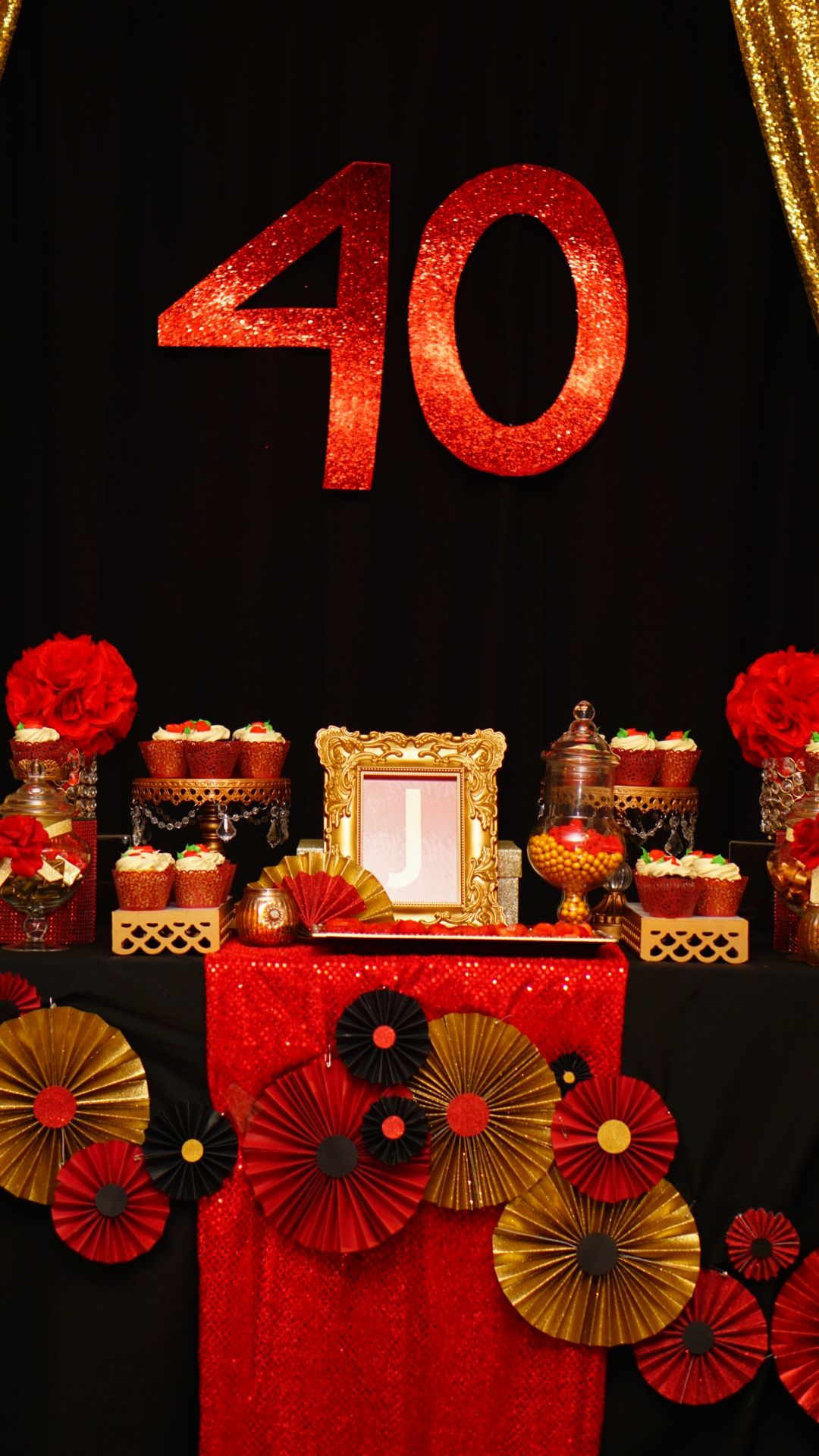 40th Black Gold Red Candy Buffet Table Red Candy Buffet Gold