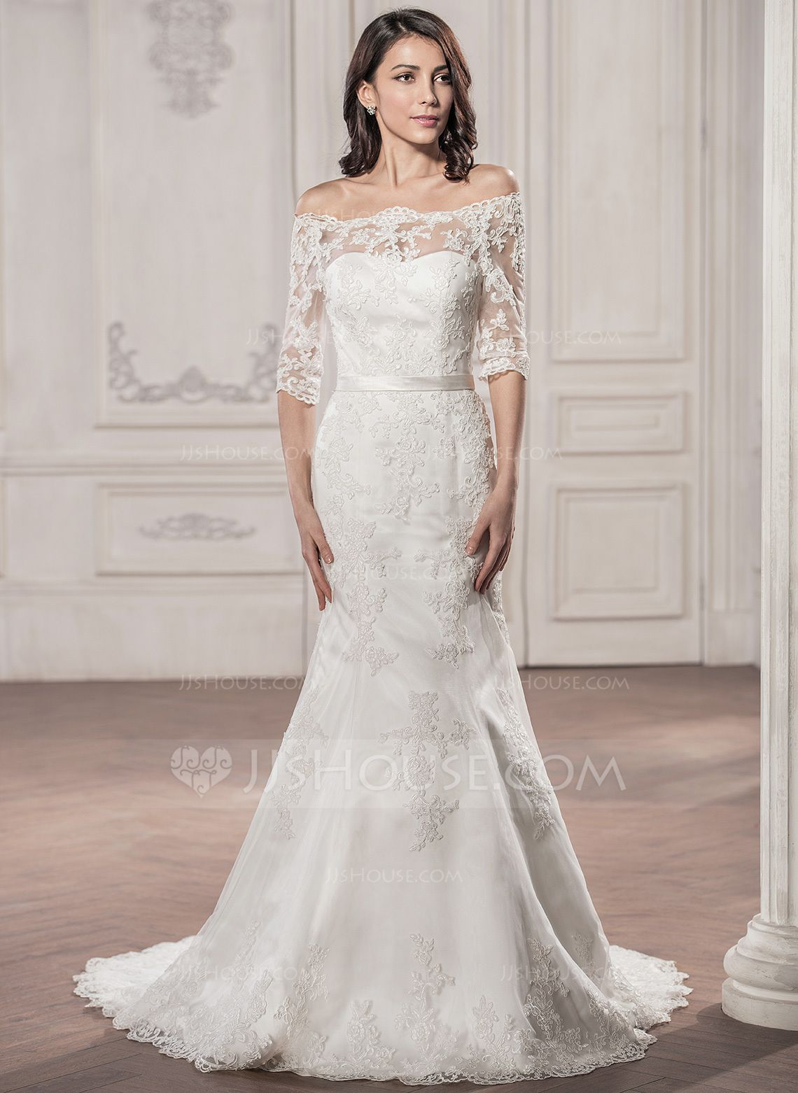 Wedding dress without train  TrumpetMermaid OfftheShoulder Court Train Lace Wedding Dress