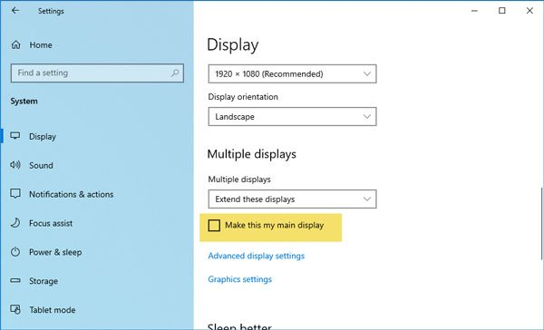 How to change Primary and Secondary monitor on Windows 10