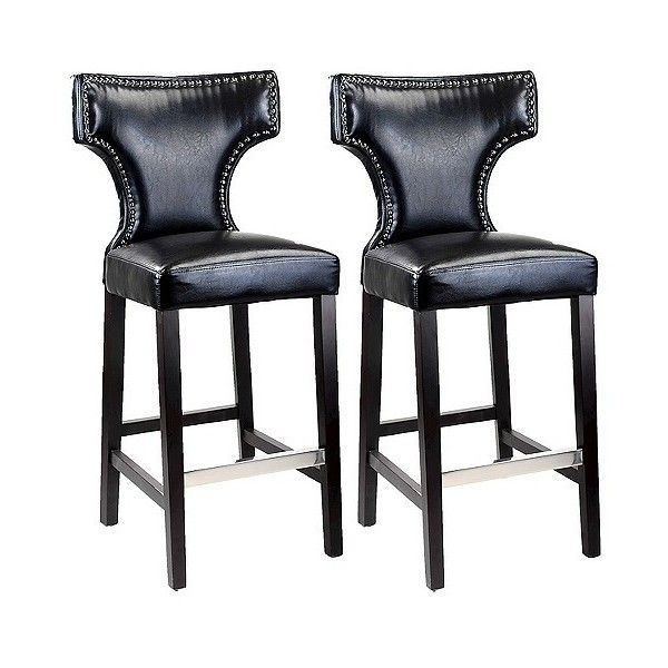 Kings Studded Bonded Leather  Barstool ($340) ❤ liked on Polyvore featuring home, furniture, stools, barstools, black, bonded leather bar stools, corliving bar stools, black furniture, studded furniture and black counter height stools