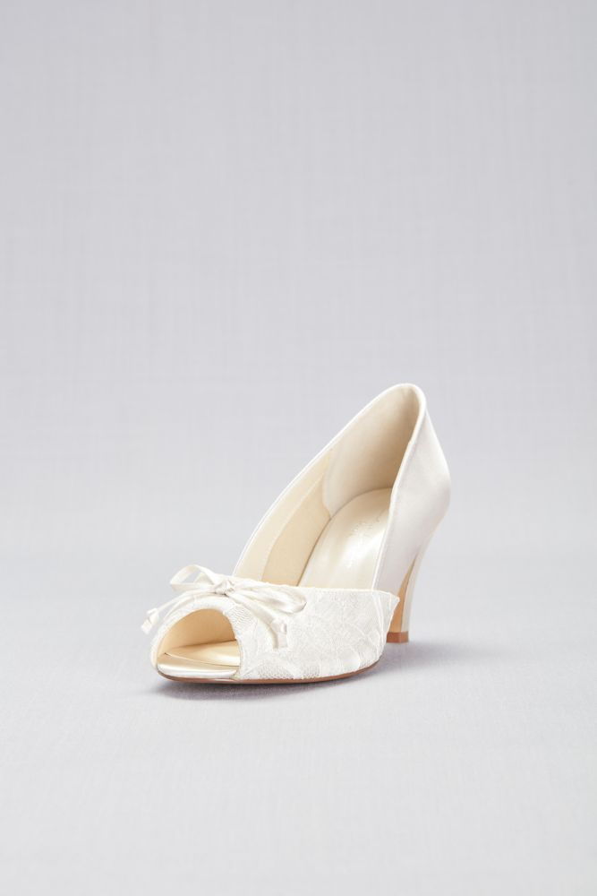 Lace and Satin Peep Toe Wide Width Pumps with Bow Style