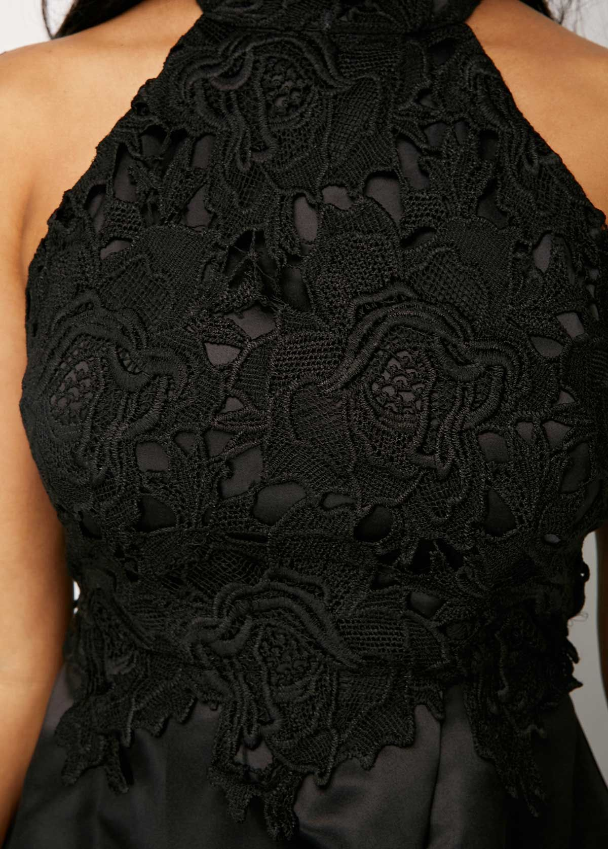 34037eccb50e4 Black Sleeveless Lace Panel High Low Dress