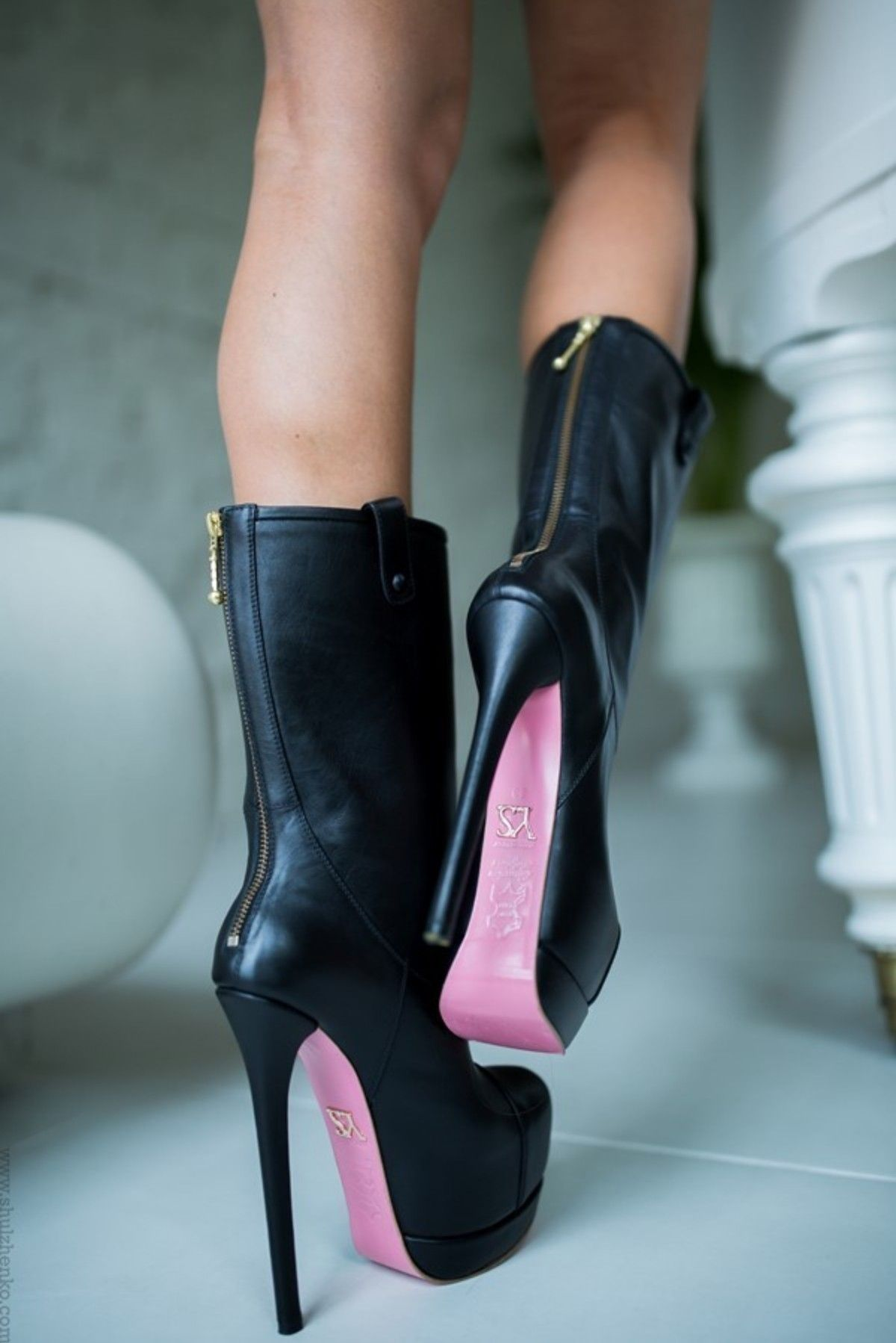6299cbed793f46 Black leather high heel boots with pink soles by Yarose Shulzhenko ...