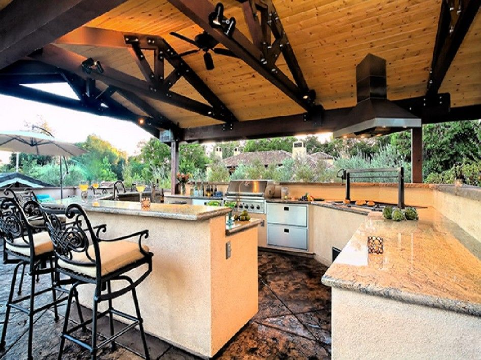 Contemporary Outdoor Kitchen Ideas With Bar Beige Grill Island Gas ...