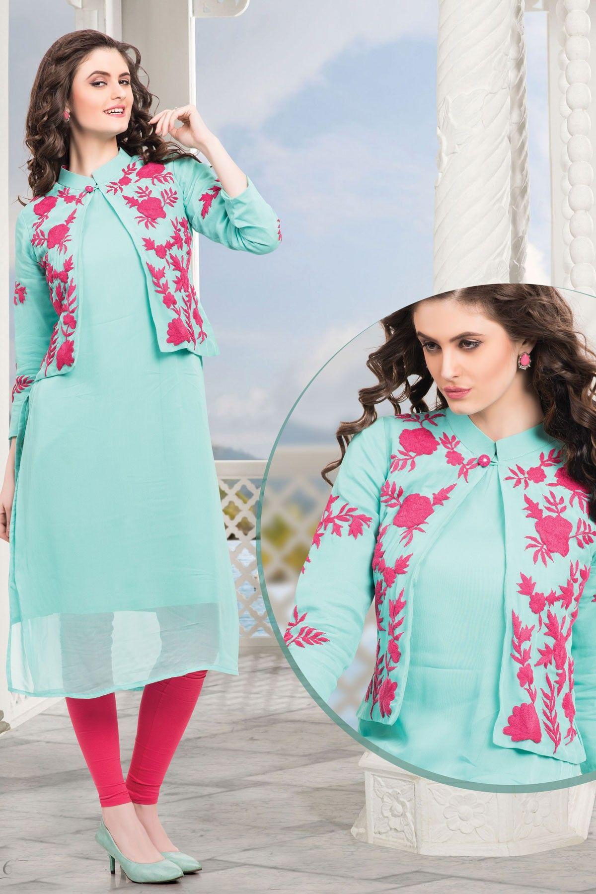 Light blue thread worked georgette koti style kurtiwkr tunics