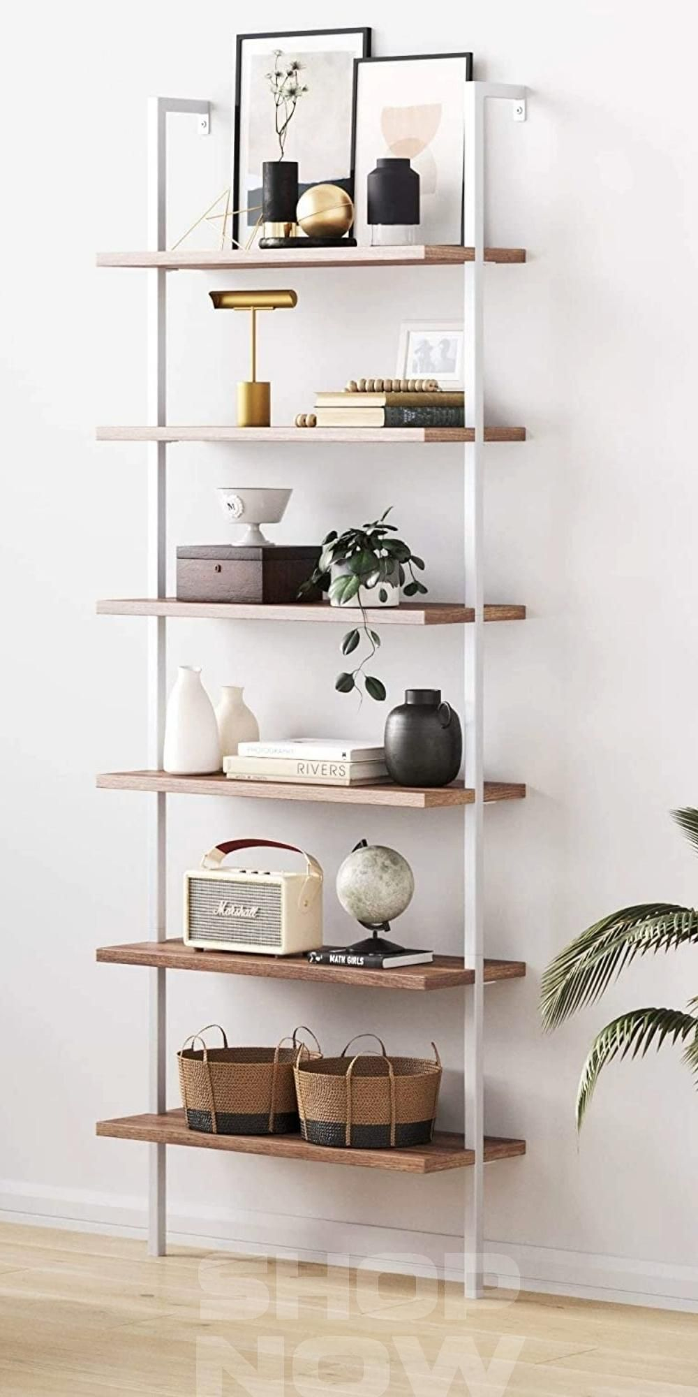 Photo of Shelves 6-Shelf Tall Bookcase, Wall Mount Bookshelf with Natural Wood Finish and Metal Frame