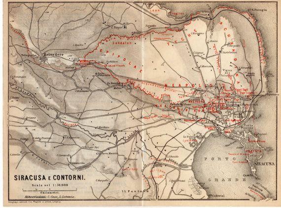1911 Syracuse Sicily Antique Map Siracusa Sicilia Sarausa Greek
