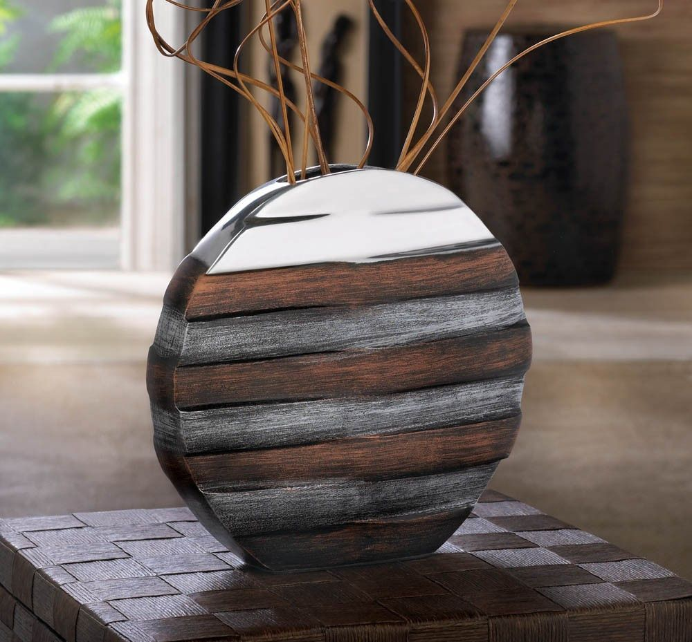Commix contemporary vase matte metal with chestnut brown banding commix contemporary vase matte metal with chestnut brown banding puts a modern spin on this decorative floridaeventfo Image collections