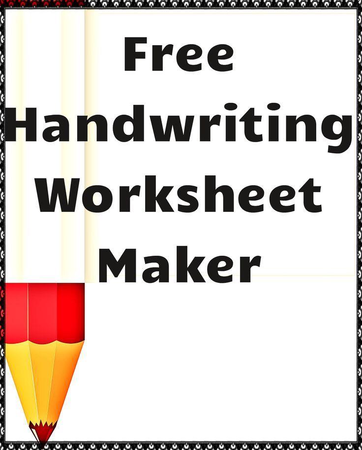 Free Handwriting Worksheet Maker Ils Teachers Corner Pinterest