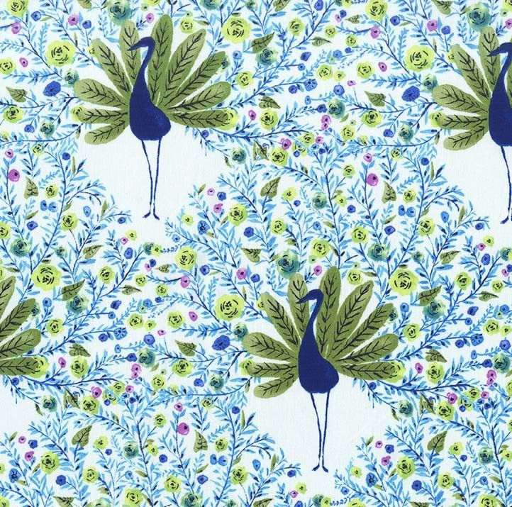 Peacock Park Blue Birds Michael Miller Fabric FQ or Metres 100/% Cotton