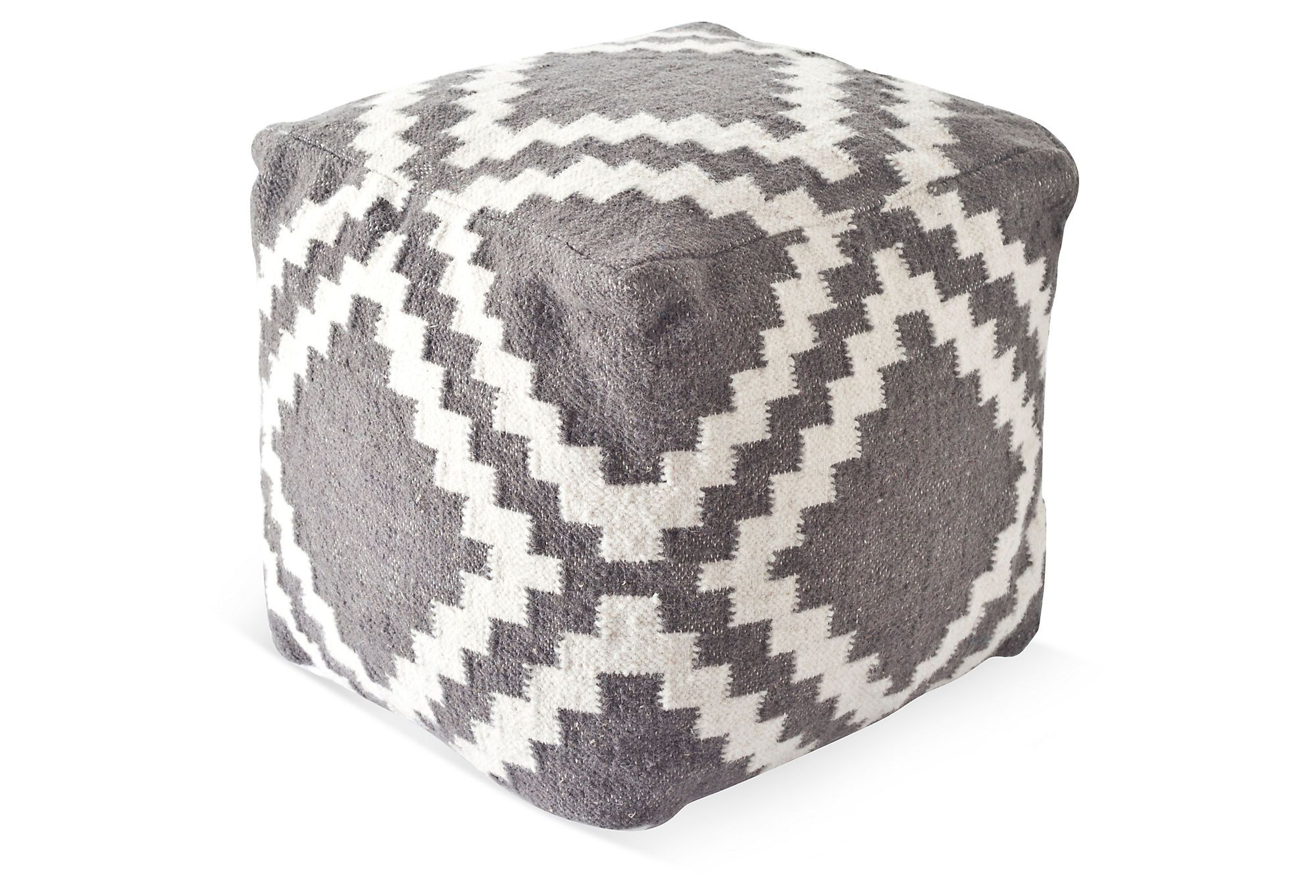 One Kings Lane - A Space of Your Own - Isa Kilim Pouf, Gray/White ...