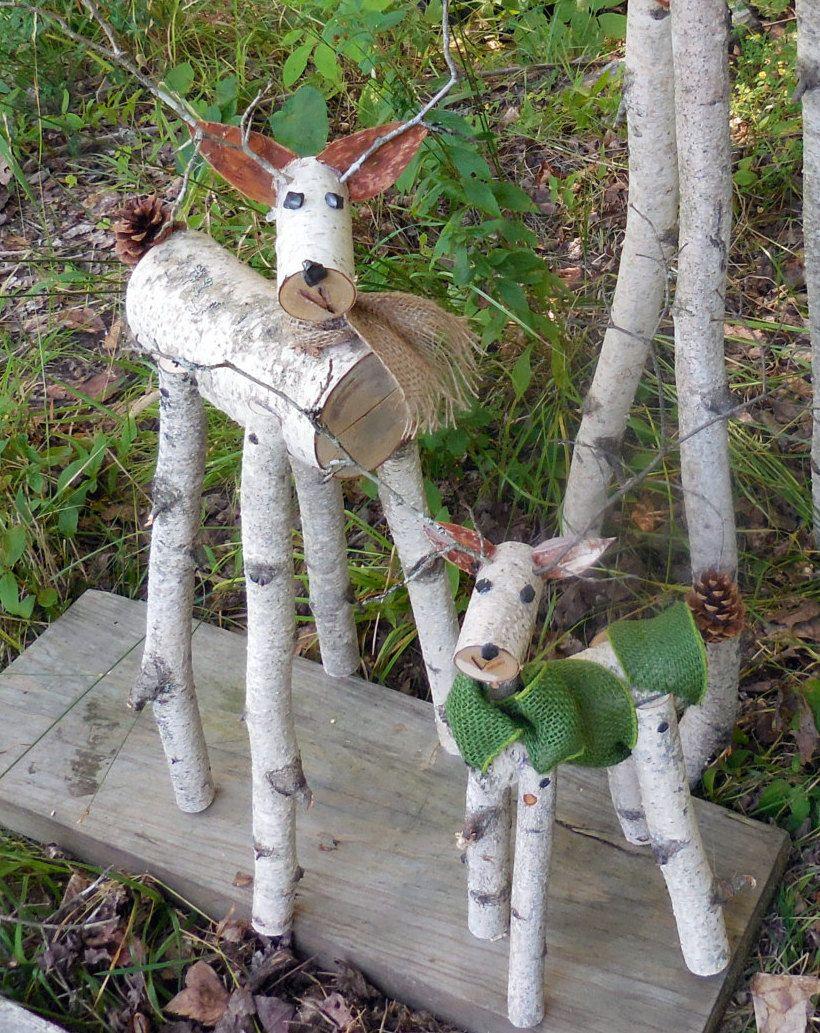 Reindeer birch log deer garden holiday decor by heavenlyholidays holidays pinterest deer - Garden log decorations ...